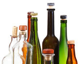 Many empty closed wine bottles — Stock Photo