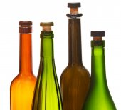 Few empty closed wine bottles close up — Foto Stock