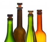 Four empty closed wine bottles close up — Foto Stock