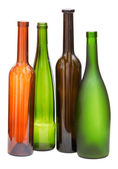 Colored empty open wine bottles isolated — Stock Photo