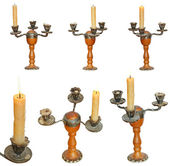 Set of candleholder with candles isolated — Stock Photo