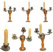 Satz von Kerzenhalter mit Kerzen, isoliert — Stockfoto