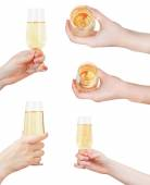 Set of hand holding glass with sparkling wine — Stockfoto