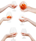 Set of hand holds glass goblet with cognac — Stock Photo