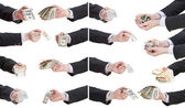 Set of banknotes in businessman hands — Stock Photo