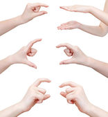 Set of hands showing sizes - hand gesture — Stock Photo