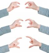 Set of hands measuring sizes - hand gesture — Stock Photo
