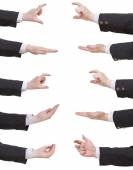 Set of businessman hands showing sizes — Stock Photo