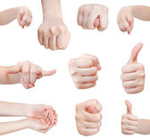 Set of front view of hand gesture isolated — Stock Photo
