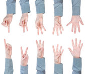 Set of scoring female hands - gesture — Stock Photo