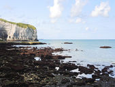 Stone beach and cape on english channel — Stock Photo