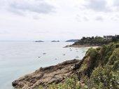Rocky coastline of English Channel, Brittany — Stock Photo
