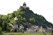 Cochem Imperial castle over Cochem town, Germany — Stock Photo