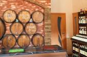 Local crimean wine on tap in shop in Yalta — Stock Photo