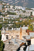 Living district of Yalta city in autumn day, — Stock Photo