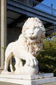 Marble medici lion with sphere near Alupka Palace — Stock Photo