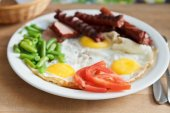 Breakfast with fried eggs, sausages — Stock Photo