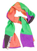 Knot from handmade patchwork scarf isolated — Stock Photo