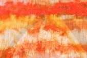 Painted striped orange silk batik — Stock Photo