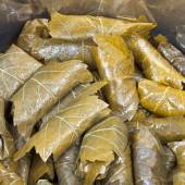 Caucasus dolma from pickled grape leaves and mince — Stock Photo