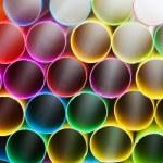 Pied plastic drinking straws close up — Stock Photo #57968701