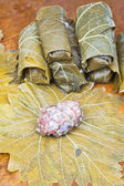 Preparation dolma from grape leaves, mince, rice — Foto de Stock