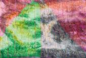 Triangle pattern on stitched silk batik — Stock Photo