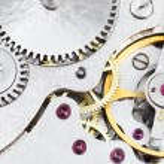 ������, ������: Background from steel clockwork of retro watch