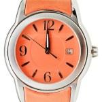 One minute to twelve o'clock on orange wristwatch — Stock Photo #58613349