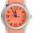 Five to twelve o'clock on dial orange wristwatch — 图库照片 #58613385