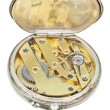 Постер, плакат: Brass clockwork of retro silver pocket watch
