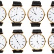 Set of wristwatch dials with different time — Stock Photo #58613611