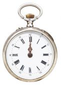 Twelve o'clock on the dial of retro pocket watch — Foto Stock