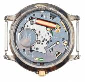 Quartz wristwatch movement in old clock isolated — Stock Photo