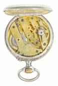 Top view of brass movement retro pocket watch — Stock Photo