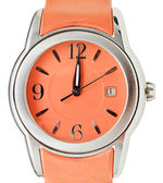 Twelve o'clock on dial of orange wristwatch — 图库照片