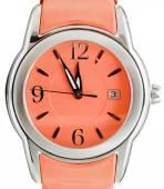 Five to twelve o'clock on dial orange wristwatch — Stock Photo