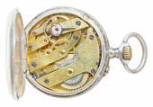 Above view of brass movement retro pocket watch — Stock Photo