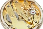 Round brass movement of retro pocket watch — Photo