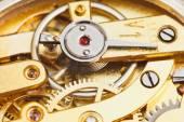 Brass mechanical movement of retro watch — Stockfoto