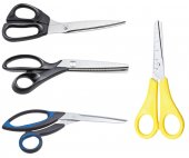 Set of different closed scissors isolated on white — Stockfoto