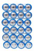 Top view of pack AA electric batteries isolated — Stockfoto