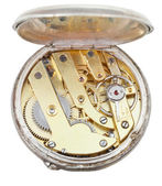 Brass movement of retro silver pocket watch — Stock Photo