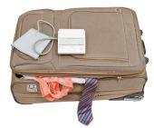 Sphygmomanometer on suitcase with tie and panties — Stock Photo