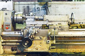 Front view of old metal lathe machine — Stock Photo
