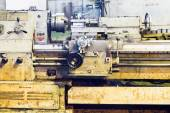 Front view of old metalworking lathe machine — Stock Photo