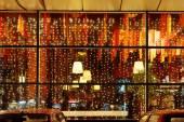 Christmas illumination of restaurant window — Stockfoto