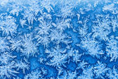 Snowflakes and frost on window in winter close up — Stock Photo