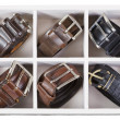 Top view of storage box with leather belts — Stock Photo #63183619