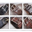 Leather belts in wooden storage box — Stock Photo #63183621